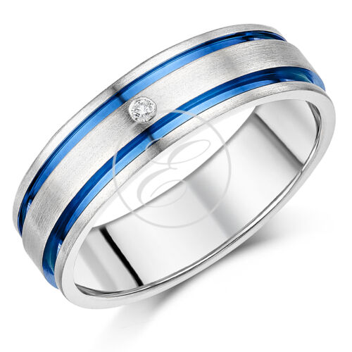 His /& Hers 5/&7mm Titanium Diamond Blue Grooved Inlay Engagement Ring Set