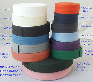 32mm-14COLOR-Cotton-Herringbone-Upholstery-Bias-Apron-edging-sewing-Bunting-TAPE