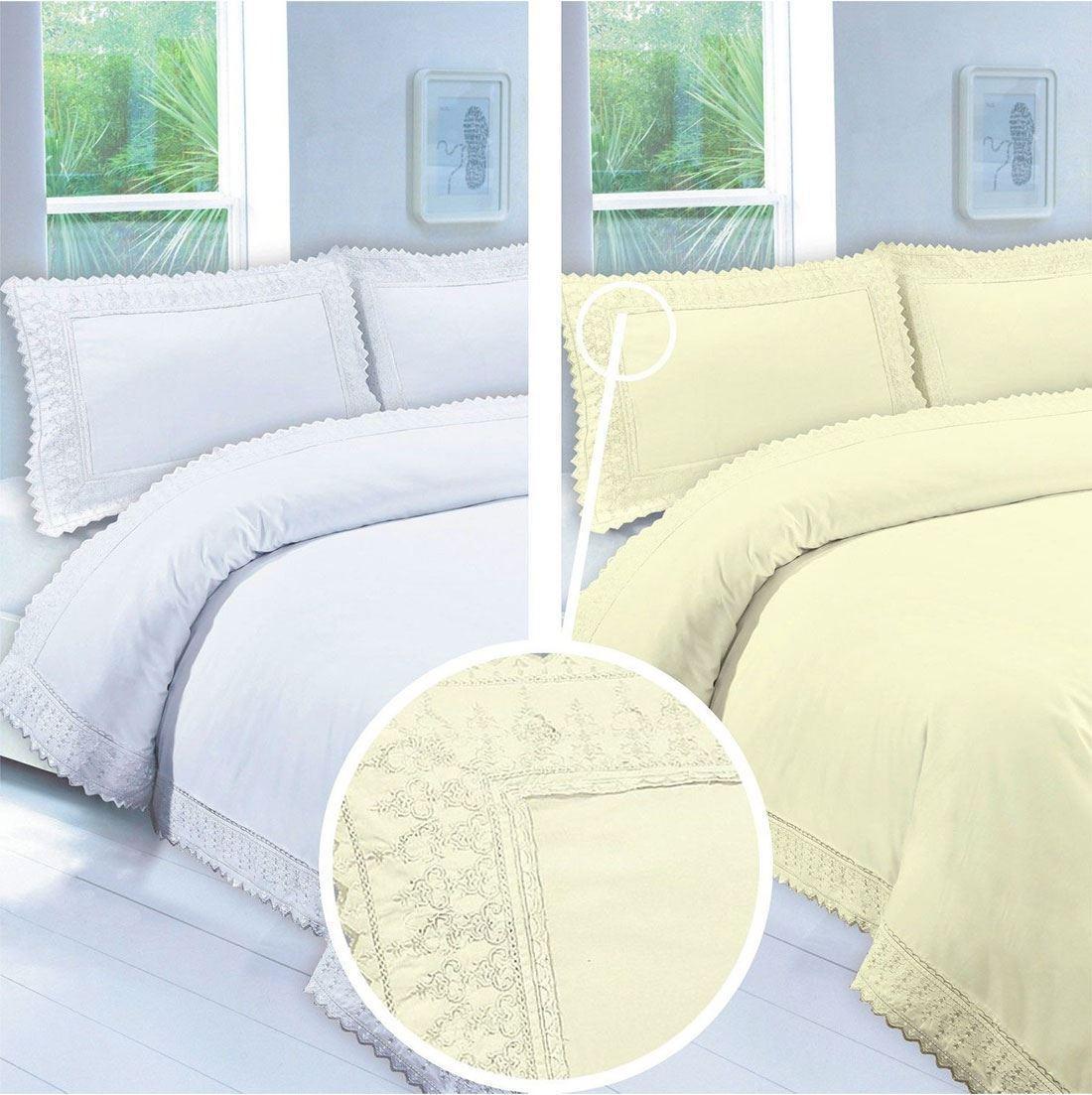 100% Egyptian Cotton Embroidery Lace Duvet Pillow Case Set Single Double King