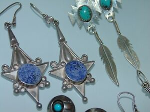 Vintage-Sterling-Silver-925-Long-Dangle-Southwestern-Earrings-Turquoise-Mexico