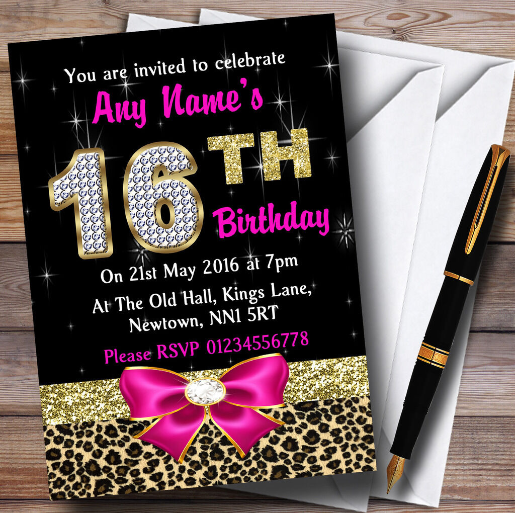 Rosa Diamond And Leopard Print 16Th Birthday Invitations Party Personalised 8558a5
