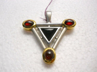 4a48c6ed11ee0 3 Stone Red Garnet & Black Onyx Pendant Sterling Silver .925 Modern Design  NWT | eBay