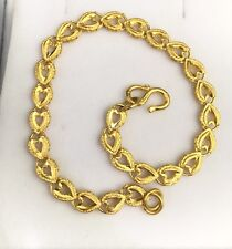 24K Solid Yellow Gold Cute Shiny Heart Bracelet. 6.5?Inches, 7.20 Grams