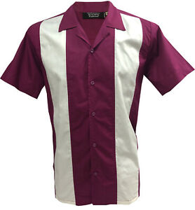 Rockabilly-Fashions-Men-039-s-Shirt-Retro-Vintage-Bowling-1950-1960-Aubergine-White