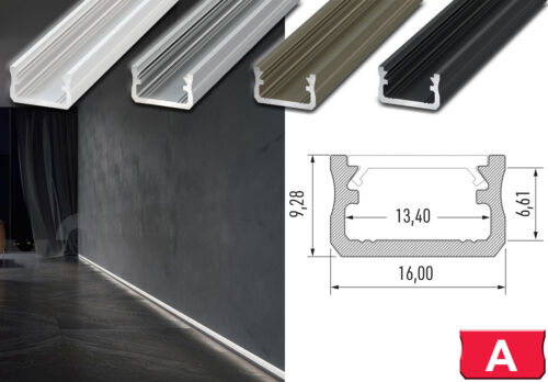 2m LED Alu Profil INOX BRONZE LUMINES A Flach Abdeckung Endkappen Set 0,5m