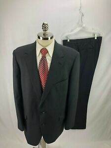Allyn-St-George-Men-039-s-Gray-Pinstripe-Wool-Suit-46R-42-x-32