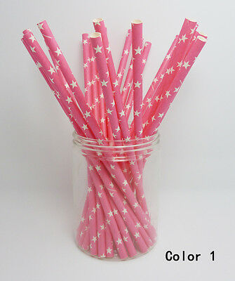 75 PCS Colorful Star Paper Straws Drinking Straws For Wedding Birthday Party