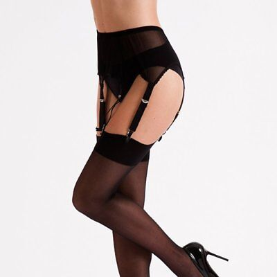 6 Strap Lace Front Retro//Vintage Style Suspender Belts Blk//Wht Small to X Large