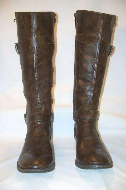 B-O-C Born Concepts Women's Knee High Boots Brown Faux Leather Zip Size 8.5 M