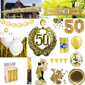 Details Zu Deko Goldhochzeit Goldene Hochzeit Jubiläum 50 Jahre Absperrband Banner Ballons
