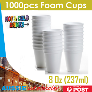 1000pcs Foam Cups Polystyrene Coffee Styrofoam Disposable Cup Insulated Bulk 8oz