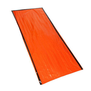 3f0828f5417 Image is loading High-visibility-Orange -Emergency-Sleeping-Bag-Thermal-Blanket-