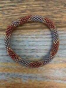 1 SET Nepal Glass Beaded bracelet crochet handmade bead bangle USA NEPAL