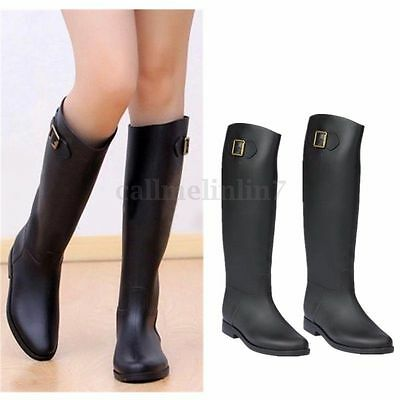 NEW WOMENS BLACK FLAT KNEE HIGH WELLINGTON WELLIES RUBBER RAIN SNOW BOOTS 3-8