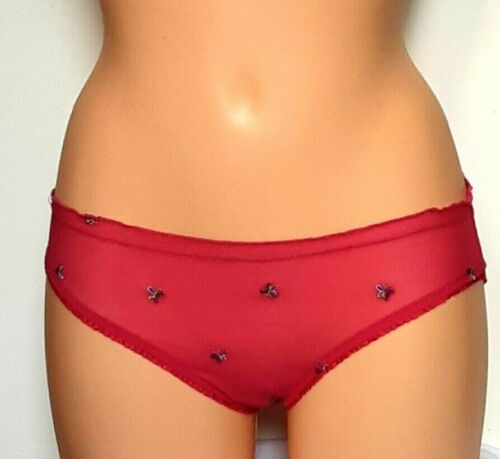 UK 8-10 Briefs Details about  /Red Net lace Butterfly embroidered Ladies Knickers size Medium