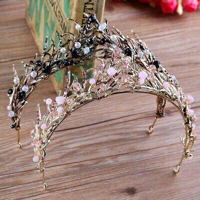 Fashion Bride Shiny Crystal Leaves Headdress Princess Tiara Hair Band Headpiece