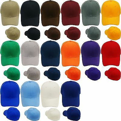 Plain Fitted Baseball Cap Curved Visor Solid Blank Color Caps Hat Hats - 9 SIZES