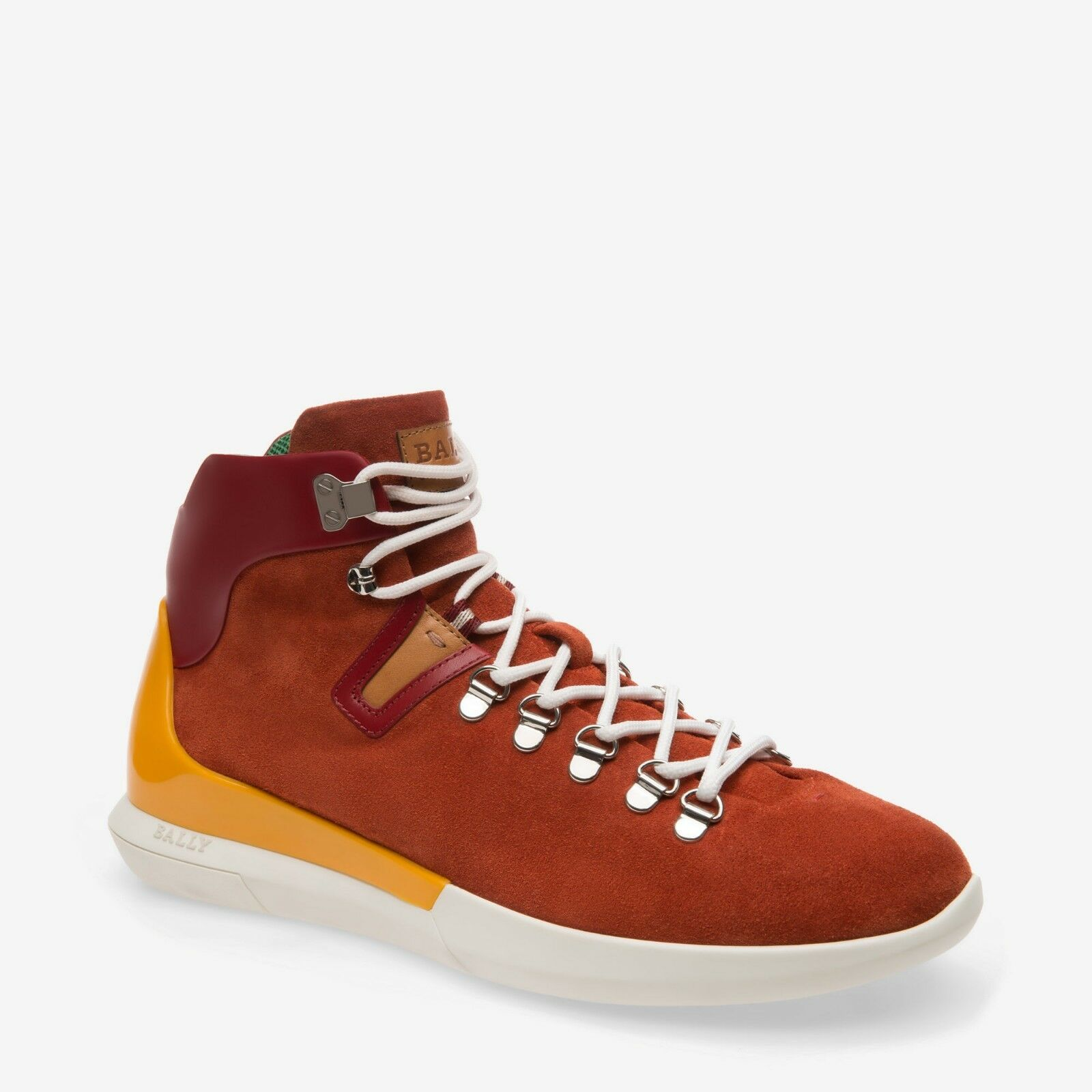 NIB BALLY AVYD SIENNA SUEDE RED LEATHER LOGO TOP SNEAKERS 7.5 US 40.5 ITALY