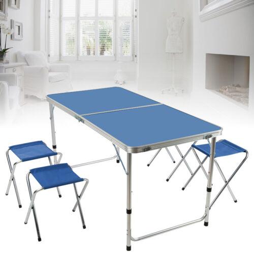 Campingtisch Klapptisch Gartentisch mit 4 Hocker Alu Picknicktisch 120 x 60cm A+