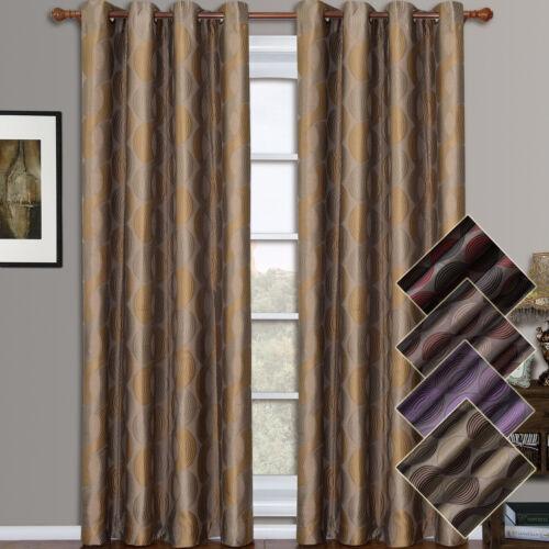 Savanna Grommet Jacquard Window Curtains Inspired Geometric Panels Set of 2