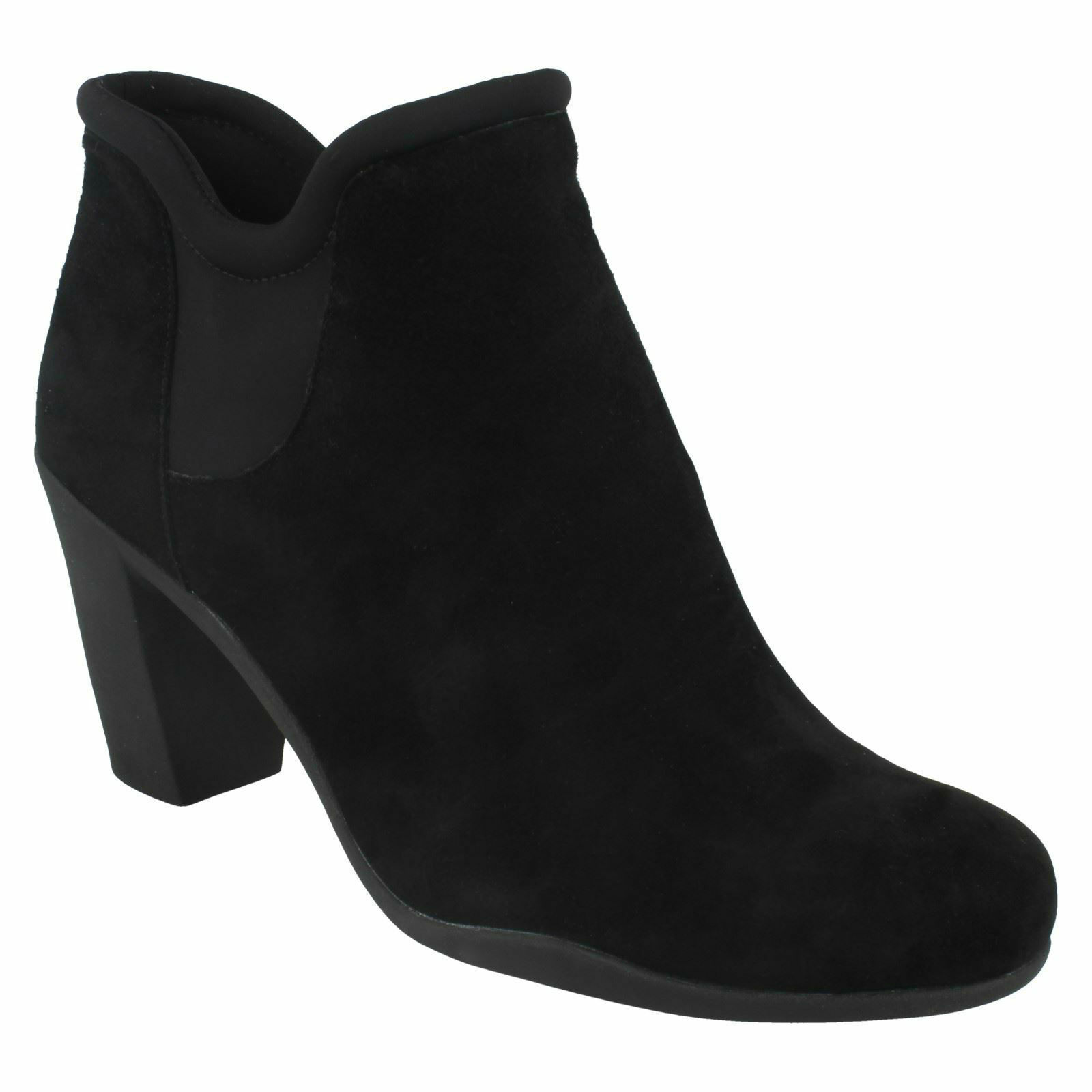 Adya Bella Gamuza Negra Para Damas Clarks Tacón Alto botas al Tobillo inteligente de cuero tire de