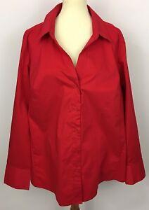 ec4855ea Lane Bryant Red Long Sleeve V-Neck Button Front Top Blouse Shirt ...