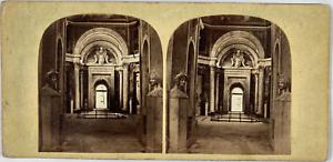 Stéréo, Italie, salle du Vatican Vintage stereo card,  Tirage albuminé  8,5x