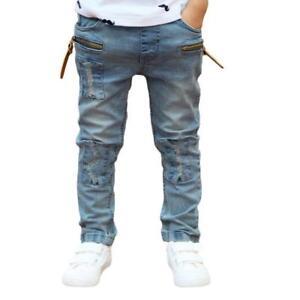 The Boy Zipper Stretch Slim Pale Denim Trousers Pants SX