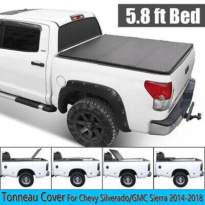 Tonneau Cover Truck Bed 5 8ft For 14 18 Chevy Silverado Gmc Sierra 1500 3 Fold Ebay