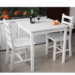 Admirable Details About Small White Wooden Dining Table And 2 Chairs Set Kitchen Room Dailytribune Chair Design For Home Dailytribuneorg