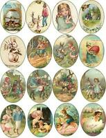 Easter 16 Vintage Rabbits Angel Eggs Oval Stickers Scrapbooking Crafts Glossy