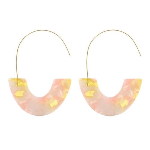 Leopard Grain Big Hook Acrylic Ear Studs Earrings Semicircle Resin/'Drop Earrings