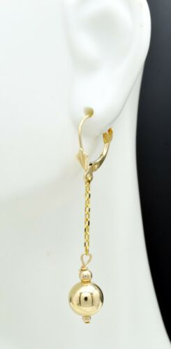 New 14K Solid Yellow Gold Round 8mm  Leverback Bead Dangle Earrings  BE132