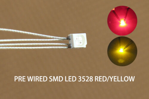 DT3528RY 20pc Presoldered litz wired leads Bicolor REDYELLOW SMD Led 3528 NEW