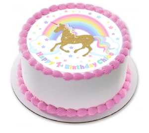 Image Is Loading Gold Unicorn Rainbow Cake Topper Decoration 1st Birthday