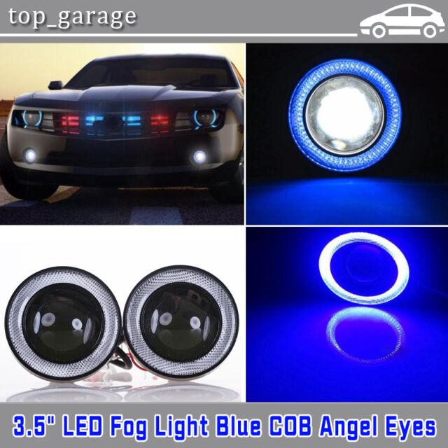 2x 3 5 Inch Blue Led Angel Eye Halo Ring Light Car Fog Driving Projector Bulbs