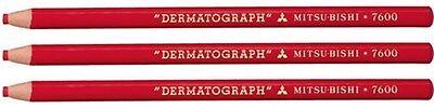 3 X Mitsubishi Dermatograph 7600 Ölbasis China Marker Stifte Rot Abziehbar