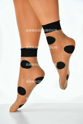 Womens Girls Beige With Black Maxi Polka Dot Mesh Socks - Ankle Length
