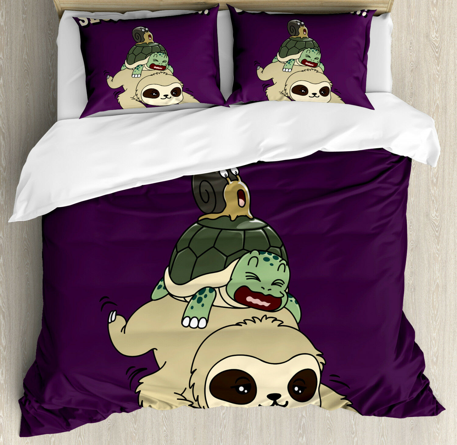 Sloth Duvet Cover Set with Pillow Shams Funny Cartoon Scenery Print