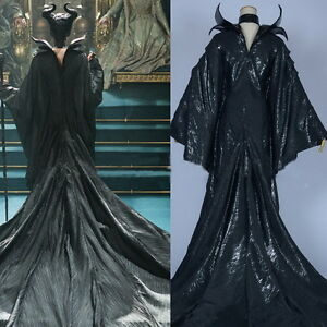 Fashion Maleficent Black Clothes Evil Queen Cosplay Costume Outfit ... 6d18a7e1b4a