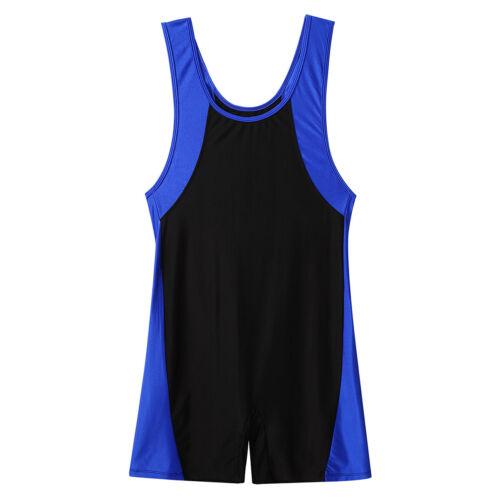 Men Bodysuit Wrestling Singlet Leotard Jumpsuit Bodybuilding Gym Shorty Unitard