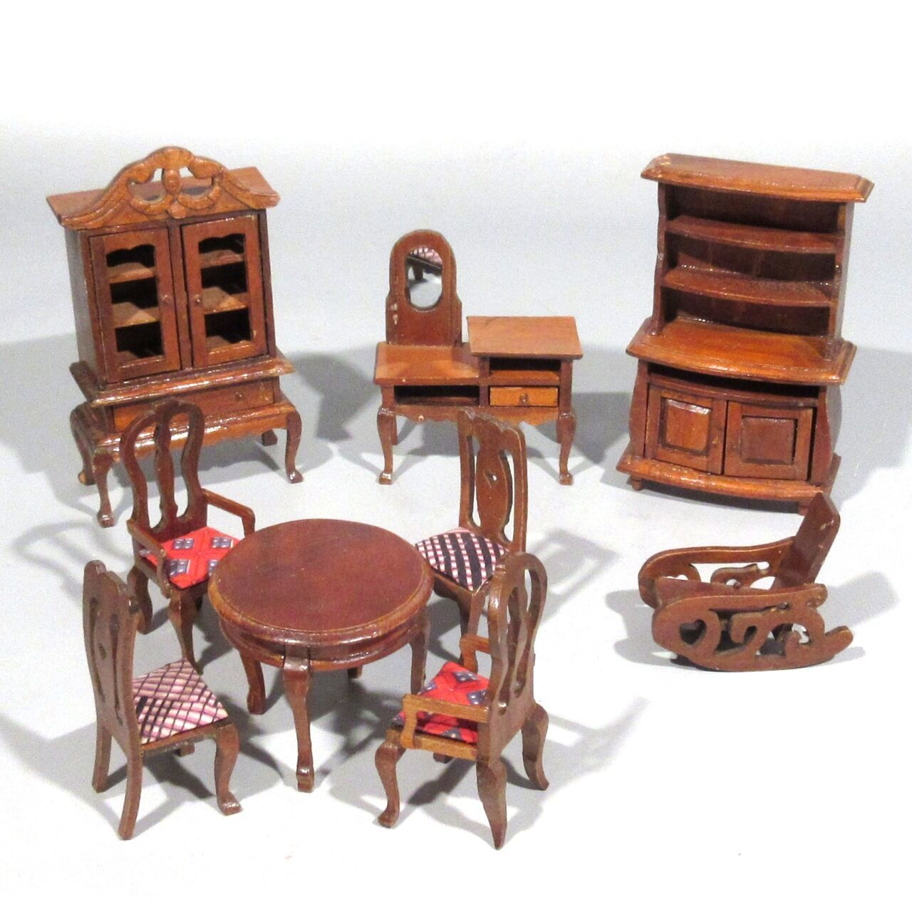 Vintage French Miniature Hand Carved Wooden Doll Furniture, 9 pcs