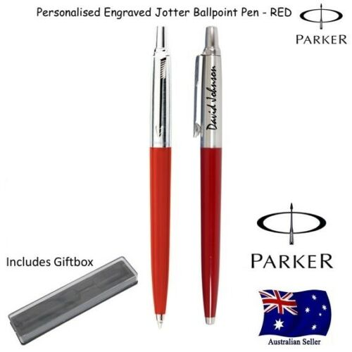 Personalised Engraved Parker Jotter Red CT Ball Pen Chrome Trim Gift Box NEW