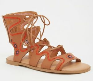 9332b9c66fbc Torrid SANDALS 9 9.5 10 Wide Gladiator Lace Up Hippie Boho Brown ...