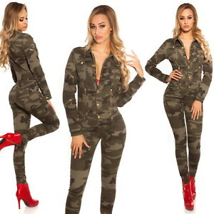 Xs Helpful Donna Camouflage Manica Lunga Denim Jeans Tuta S/m/l/xl