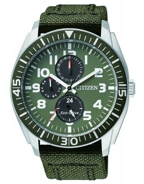 Citizen AP4011-01W Eco-Drive Mens Solar Watch GREEN WR100m RRP $399.00