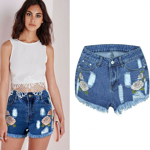 Summer Women High Waisted Short Mini Jeans Ripped Jeans Denim Shorts Mini Pants