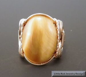 14 k Gold Filled Honey Tigers Eye Cabochon Wire Wrapped Ring