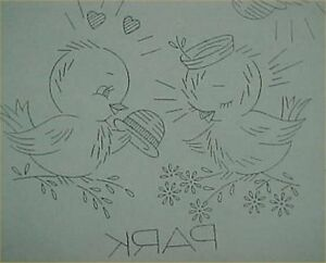 Vintage-Love-Birds-Bluebirds-Transfer-Pattern-Embroidery-Sewing-Days-of-Week-30s