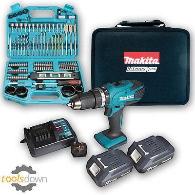 Makita 18v Li-ion Cordless Hammer Combi Drill +2 x Batteries, Charger & Case